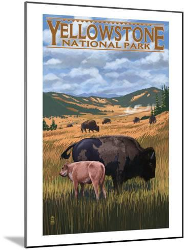 Bison and Calf Grazing - Yellowstone National Park-Lantern Press-Mounted Art Print