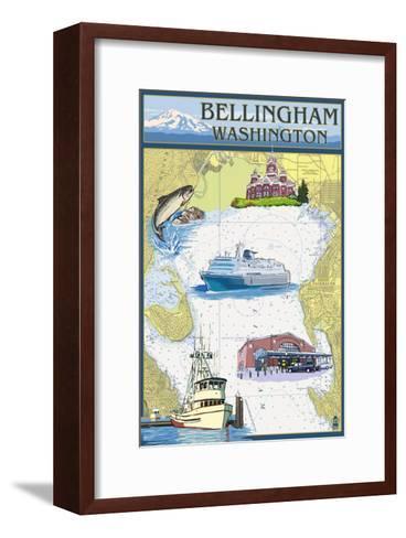 Bellingham, Washington - Nautical Chart-Lantern Press-Framed Art Print