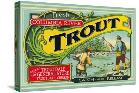 Troutdale, Oregon Trout Label-Lantern Press-Stretched Canvas Print