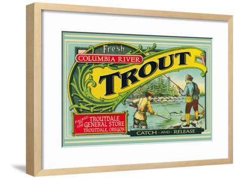 Troutdale, Oregon Trout Label-Lantern Press-Framed Art Print