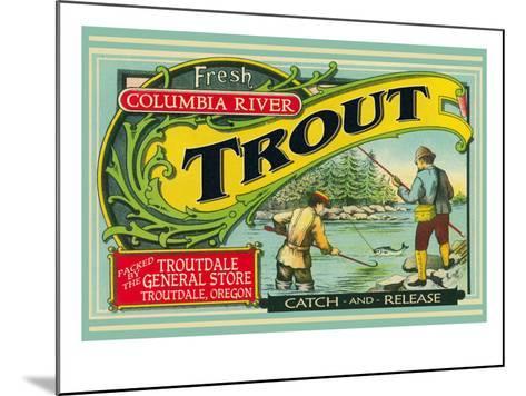 Troutdale, Oregon Trout Label-Lantern Press-Mounted Art Print