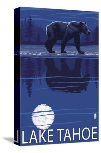 Bear at Night - Lake Tahoe, California-Lantern Press-Stretched Canvas Print