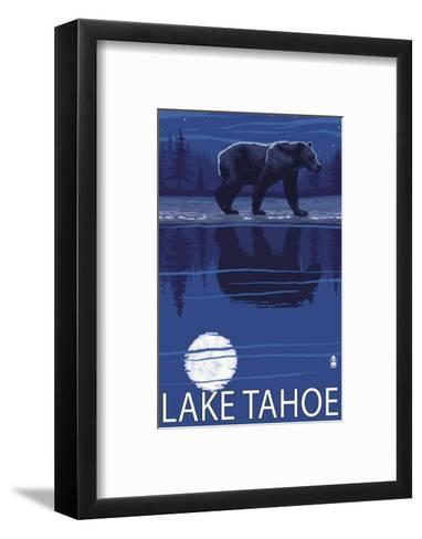 Bear at Night - Lake Tahoe, California-Lantern Press-Framed Art Print
