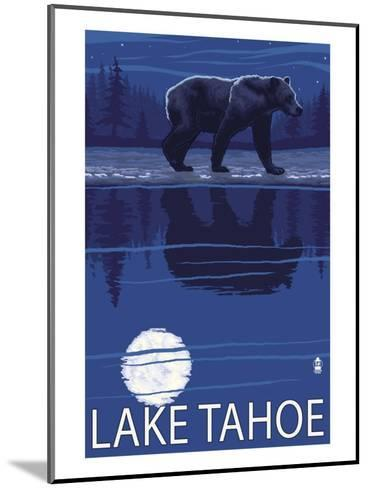 Bear at Night - Lake Tahoe, California-Lantern Press-Mounted Art Print