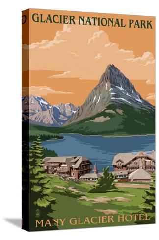 Many Glacier Hotel - Glacier National Park, Montana-Lantern Press-Stretched Canvas Print