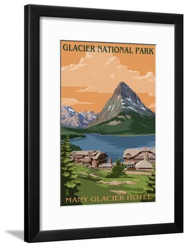Many Glacier Hotel - Glacier National Park, Montana-Lantern Press-Framed Art Print