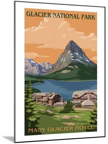 Many Glacier Hotel - Glacier National Park, Montana-Lantern Press-Mounted Art Print