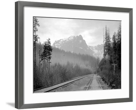 Mount Index and Great Northern Tracks at Index, 1906-Asahel Curtis-Framed Art Print