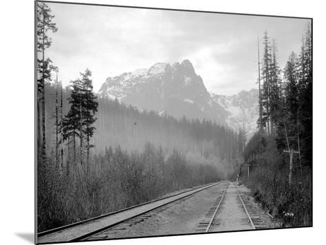 Mount Index and Great Northern Tracks at Index, 1906-Asahel Curtis-Mounted Giclee Print