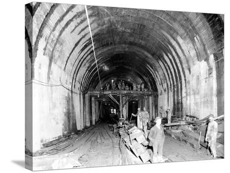 Great Northern Tunnel Under Seattle, Jan. 25, 1904-Asahel Curtis-Stretched Canvas Print
