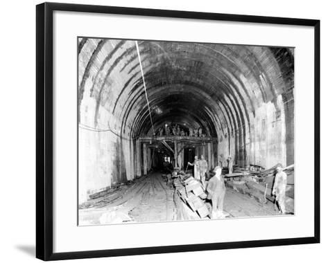 Great Northern Tunnel Under Seattle, Jan. 25, 1904-Asahel Curtis-Framed Art Print
