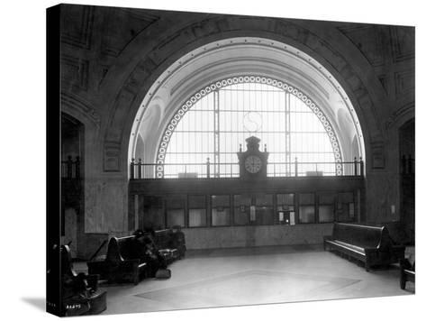 Train Station with Vaulted Archway, Circa 1911-Asahel Curtis-Stretched Canvas Print