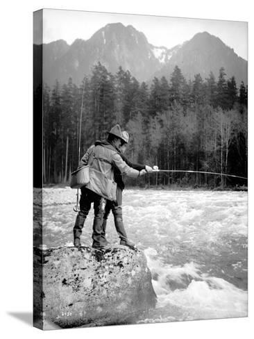 Skyskomish River Fishing, 1906-Asahel Curtis-Stretched Canvas Print