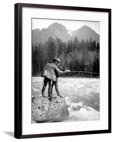 Skyskomish River Fishing, 1906-Asahel Curtis-Framed Art Print