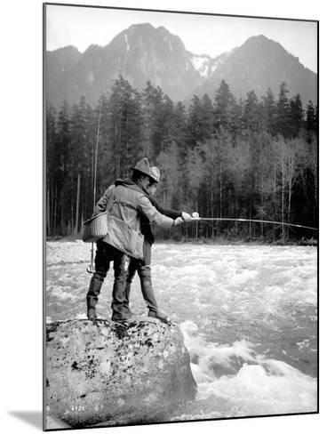 Skyskomish River Fishing, 1906-Asahel Curtis-Mounted Giclee Print
