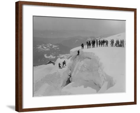 Mountain Climbers Ascending Mount Baker, 1908-Asahel Curtis-Framed Art Print