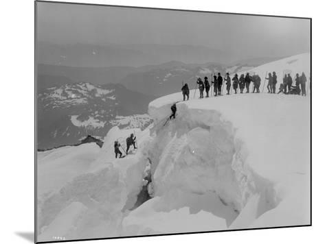 Mountain Climbers Ascending Mount Baker, 1908-Asahel Curtis-Mounted Giclee Print