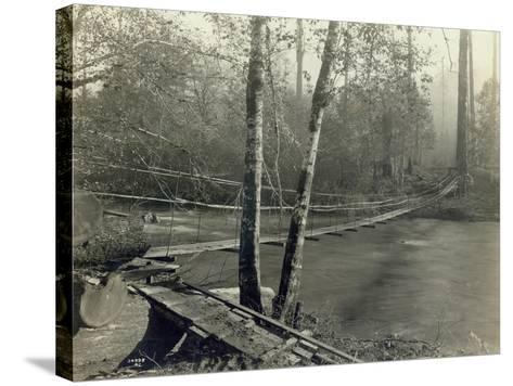 Suspension Bridge, Lake Crescent Road, 1918-Asahel Curtis-Stretched Canvas Print