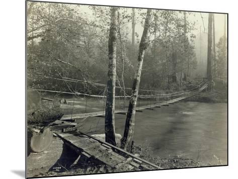Suspension Bridge, Lake Crescent Road, 1918-Asahel Curtis-Mounted Giclee Print