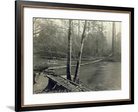 Suspension Bridge, Lake Crescent Road, 1918-Asahel Curtis-Framed Art Print