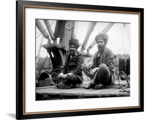 Two Sikh Men Sitting on a Dock, Circa 1913-Asahel Curtis-Framed Art Print