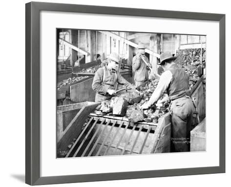 Picking Coal, Franklin Mine, Circa 1902-Asahel Curtis-Framed Art Print