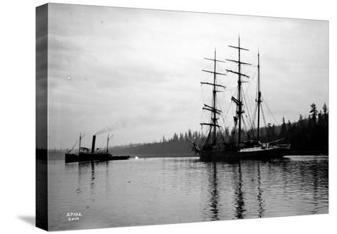 Schooner in Bay, Circa 1912-Asahel Curtis-Stretched Canvas Print