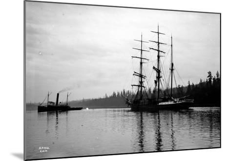 Schooner in Bay, Circa 1912-Asahel Curtis-Mounted Giclee Print