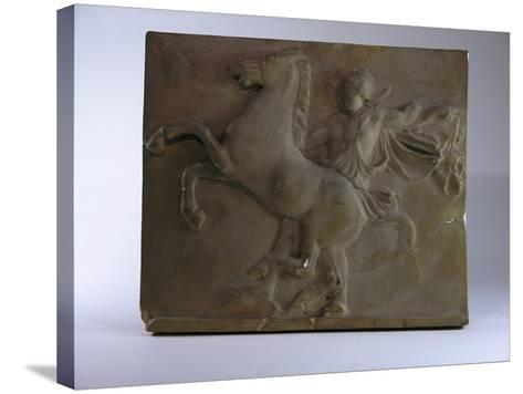 Relief Fragment Depicts A Figure with A Horse, A Copy of A Frieze In the Classical Greek Style-James Wehn-Stretched Canvas Print
