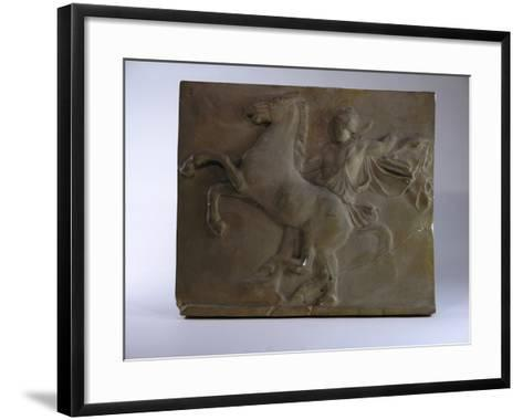 Relief Fragment Depicts A Figure with A Horse, A Copy of A Frieze In the Classical Greek Style-James Wehn-Framed Art Print