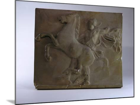 Relief Fragment Depicts A Figure with A Horse, A Copy of A Frieze In the Classical Greek Style-James Wehn-Mounted Giclee Print