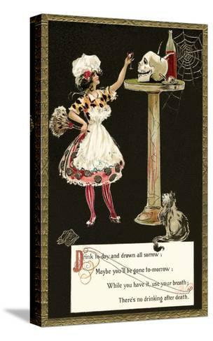 French Maid Toasting Skull--Stretched Canvas Print