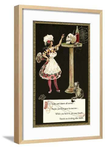 French Maid Toasting Skull--Framed Art Print