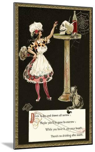 French Maid Toasting Skull--Mounted Art Print