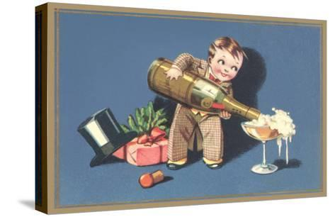 Little Boy with Big Champagne Bottle--Stretched Canvas Print