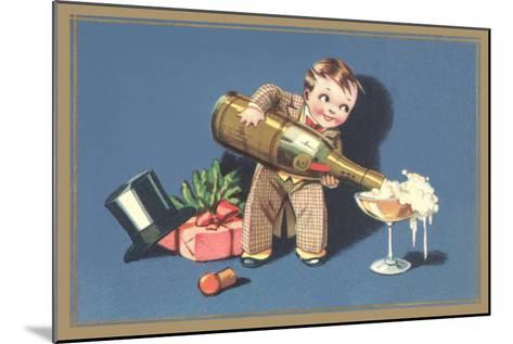 Little Boy with Big Champagne Bottle--Mounted Art Print