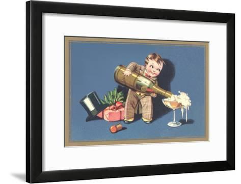 Little Boy with Big Champagne Bottle--Framed Art Print
