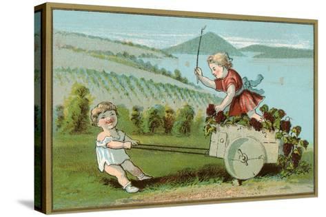 Children Pulling Wine Cart, Illustration--Stretched Canvas Print