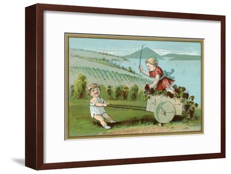 Children Pulling Wine Cart, Illustration--Framed Art Print