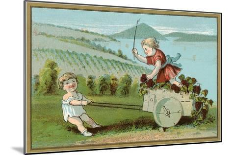 Children Pulling Wine Cart, Illustration--Mounted Art Print