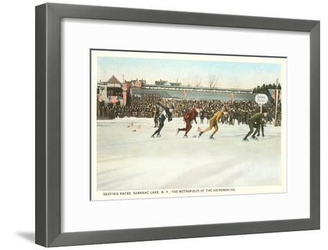 Speed Skating Races, Saranac Lake, New York--Framed Art Print