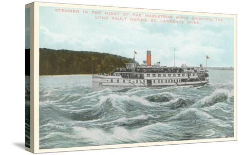 Steamship in Rapids on St. Lawrence River, New York--Stretched Canvas Print