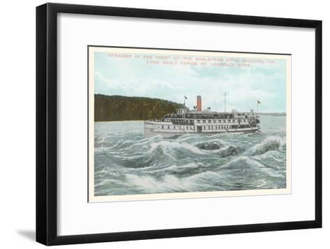 Steamship in Rapids on St. Lawrence River, New York--Framed Art Print