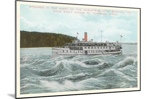 Steamship in Rapids on St. Lawrence River, New York--Mounted Art Print