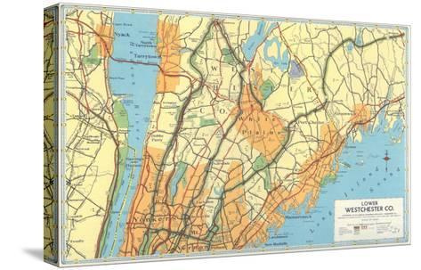 Map of Lower Westchester County, New York--Stretched Canvas Print