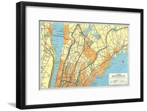 Map of Lower Westchester County, New York--Framed Art Print