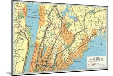 Map of Lower Westchester County, New York--Mounted Art Print
