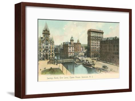 Erie Canal and Opera House, Syracuse, New York--Framed Art Print
