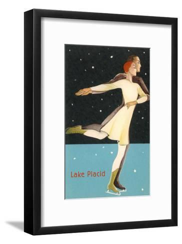 Pair Ice Skating in Lake Placid, New York--Framed Art Print