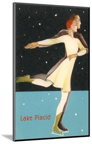 Pair Ice Skating in Lake Placid, New York--Mounted Art Print